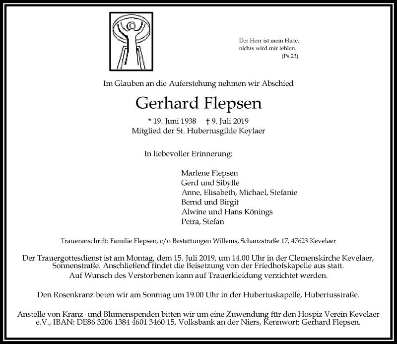 Anzeige von  Gerhard Flepsen