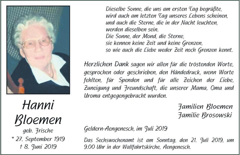 Anzeige von  Hanni Bloemen