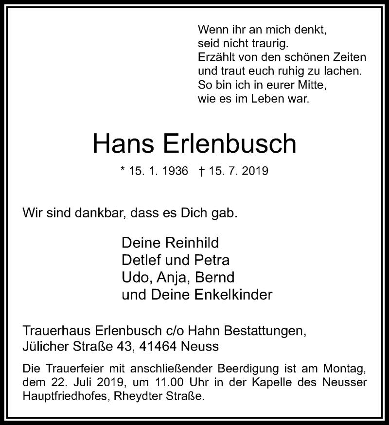 Anzeige von  Hans Erlenbusch