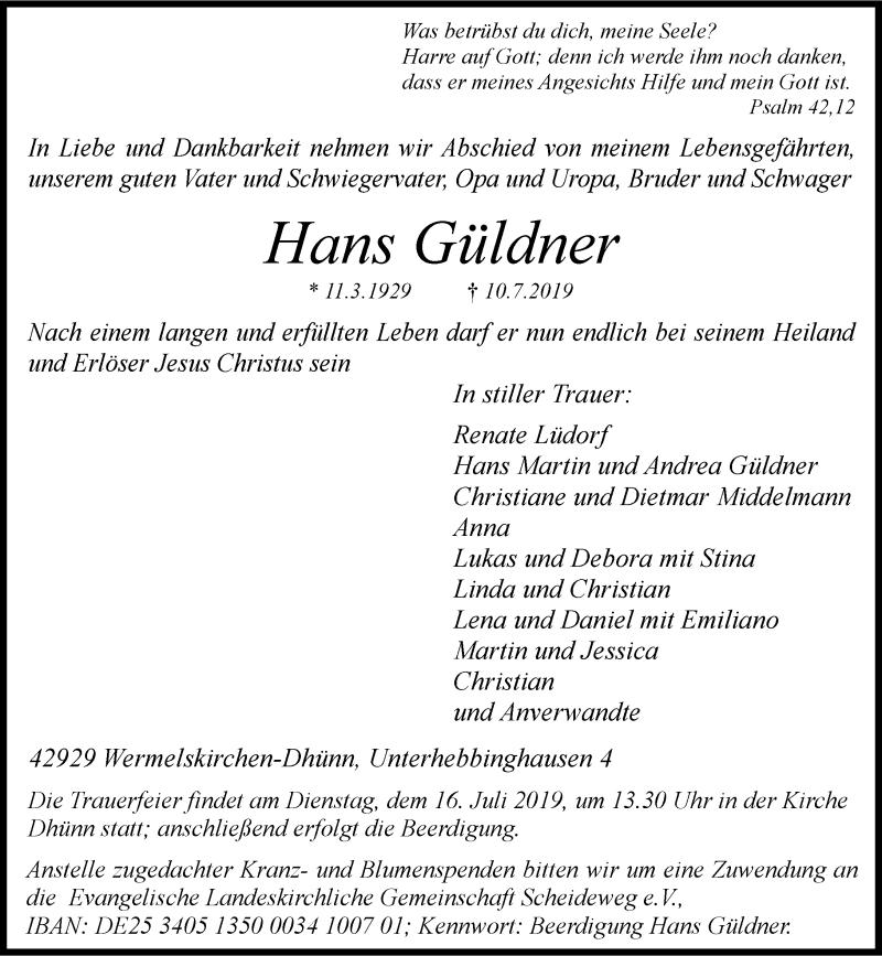 Anzeige von  Hans Güldner