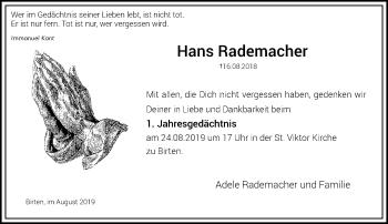 Traueranzeige von Hans Rademacher von Rheinische Post