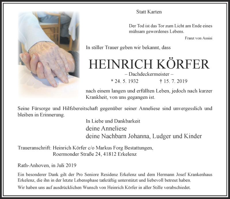 Anzeige von  Heinrich Körfer