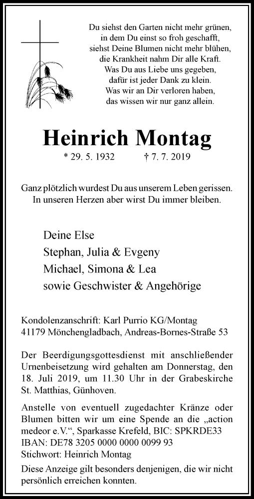Traueranzeige für Heinrich Montag vom 13.07.2019 aus Rheinische Post