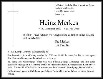 Traueranzeige von Heinz Merkes von Rheinische Post