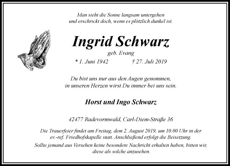 Anzeige von  Ingrid Schwarz