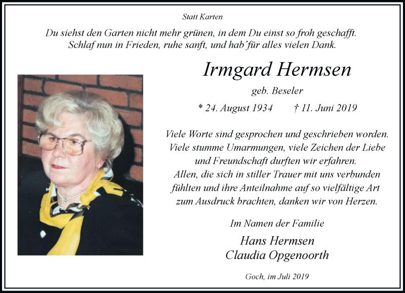 Traueranzeige für Irmgard Hermsen vom 27.07.2019 aus Rheinische Post