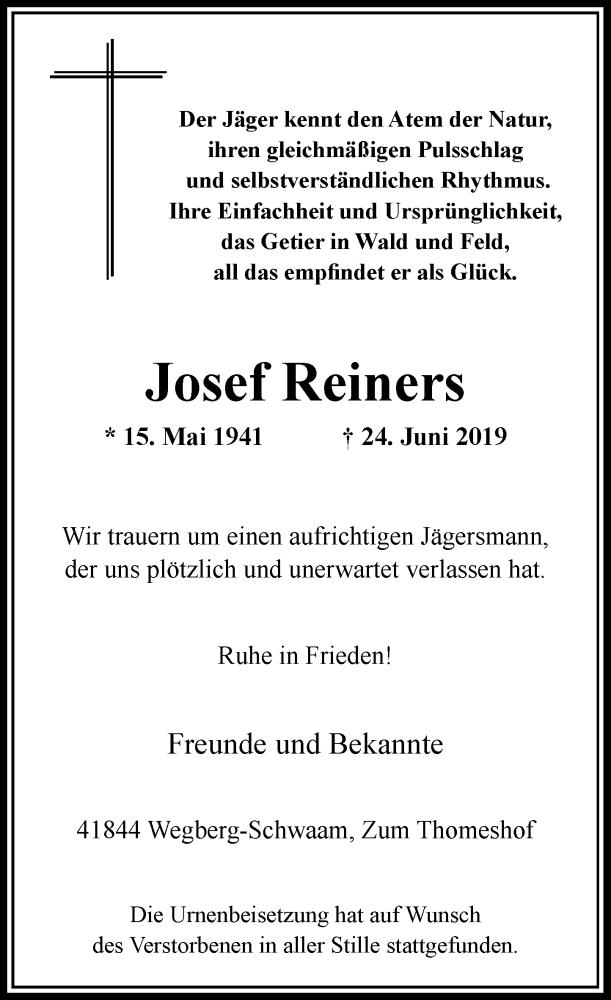 Anzeige von  Josef Reiners
