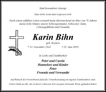 Traueranzeige von Karin Bihn von Rheinische Post
