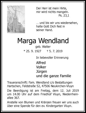 Traueranzeige von Marga Wendland von Rheinische Post