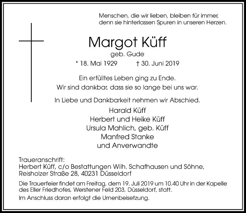 Anzeige von  Margot Küff