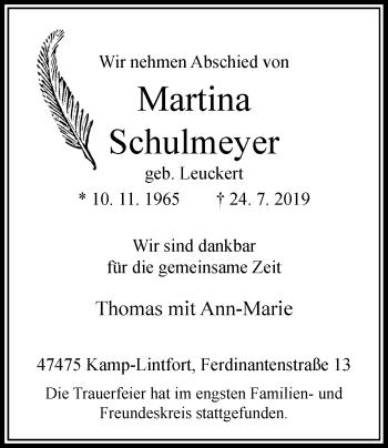 Traueranzeige von Martina Schulmeyer von Rheinische Post