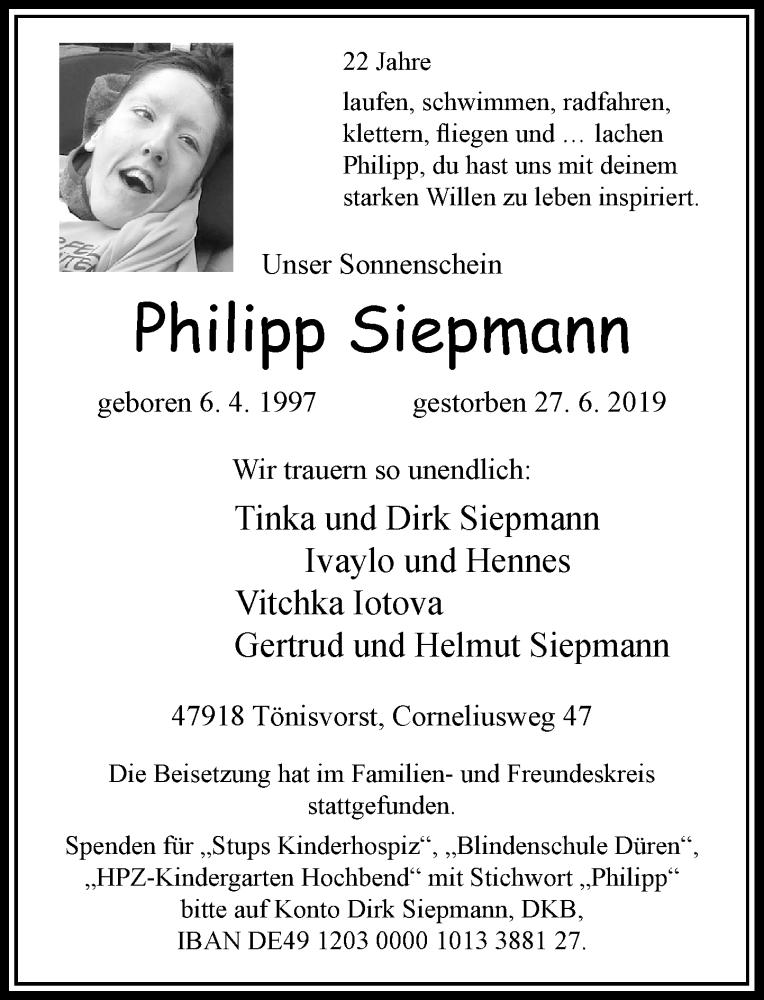 Anzeige von  Philipp Siepmann