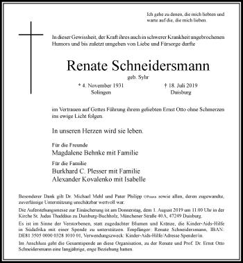 Traueranzeige von Renate Schneidersmann von Rheinische Post