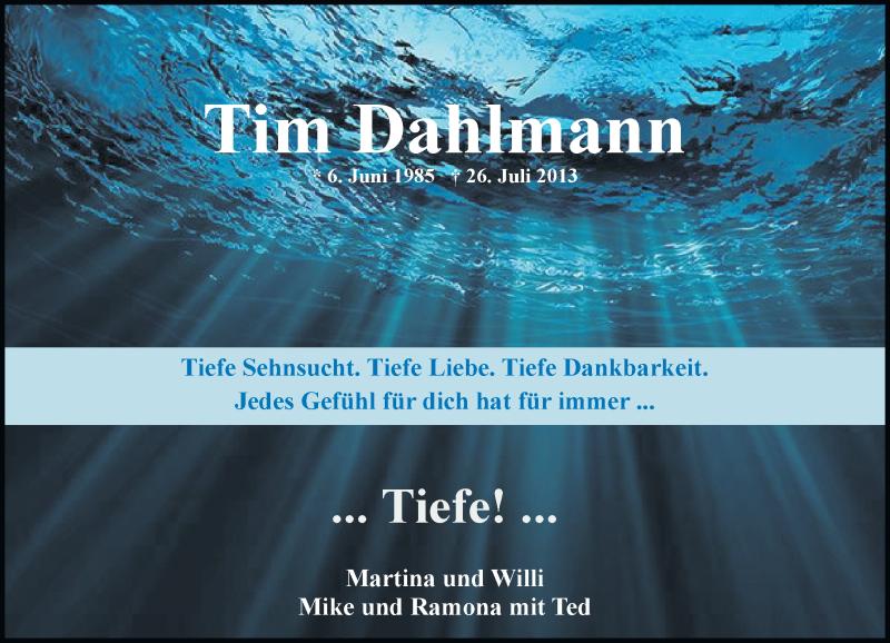 Traueranzeige für Tim Dahlmann vom 26.07.2019 aus Rheinische Post