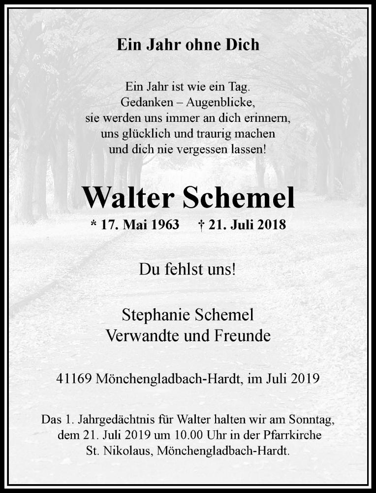 Anzeige von  Walter Schemel