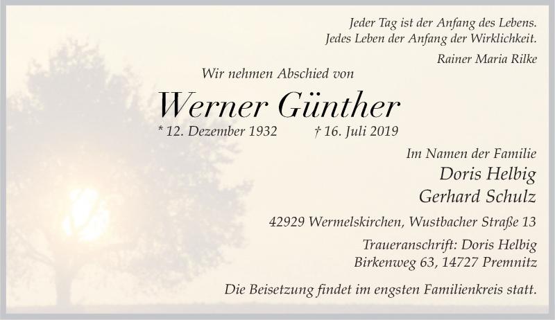 Anzeige von  Werner Günther