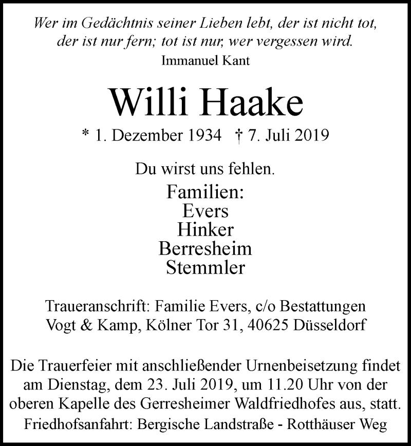 Traueranzeige für Willi Haake vom 13.07.2019 aus Rheinische Post