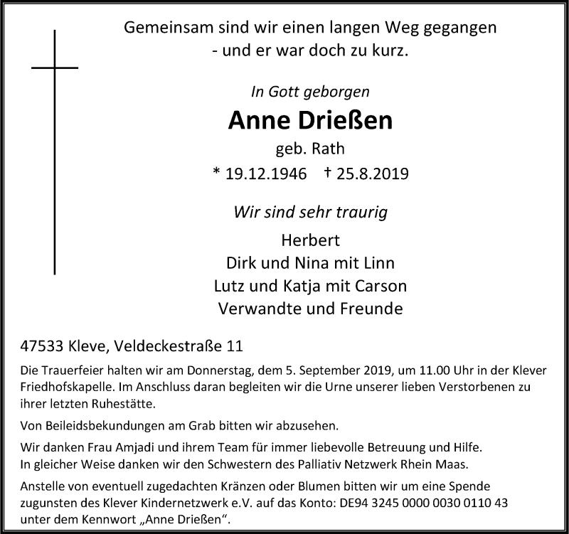 Anzeige von  Anne Drießen