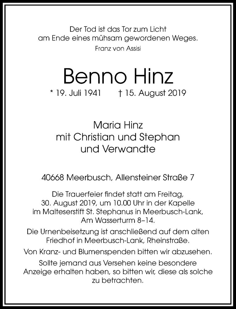Anzeige von  Benno Hinz