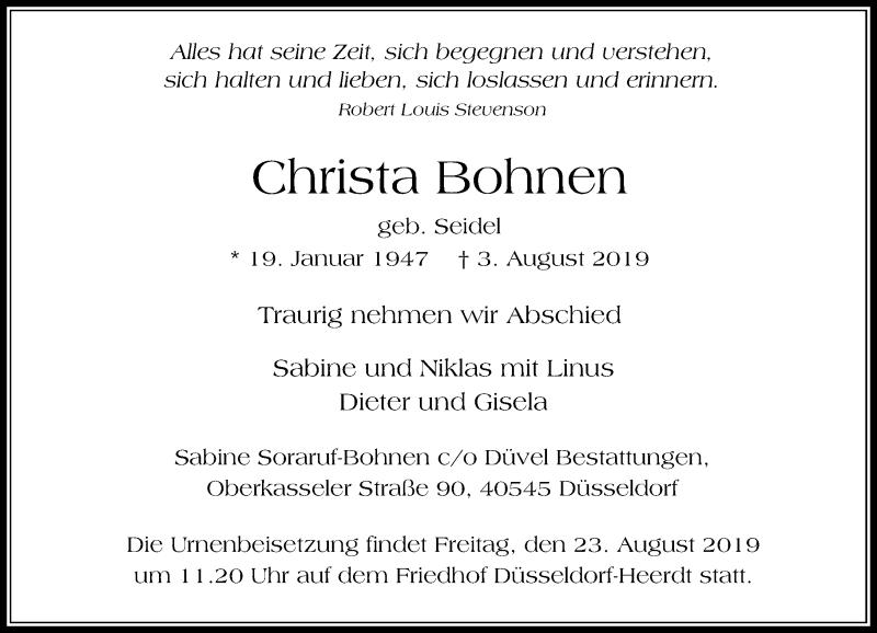 Anzeige von  Christa Bohnen