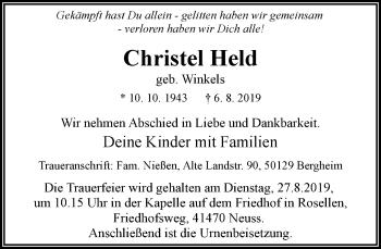 Traueranzeige von Christel Held von Rheinische Post