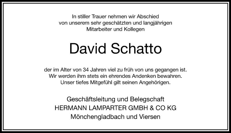 Anzeige von  David Schatto