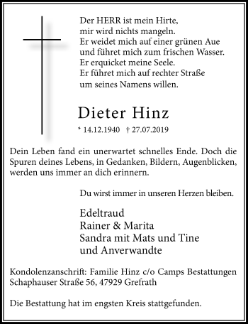 Traueranzeige von Dieter Hinz von Rheinische Post
