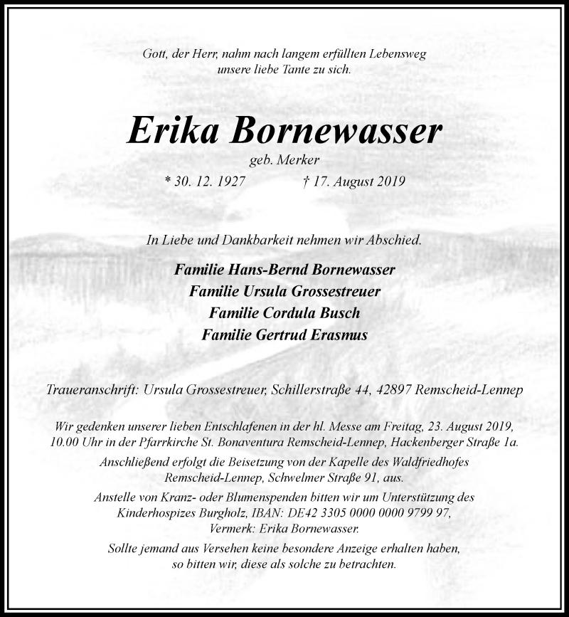 Anzeige von  Erika Bornewasser