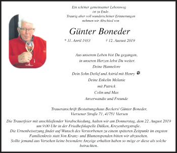 Traueranzeige von Günter Boneder von Rheinische Post