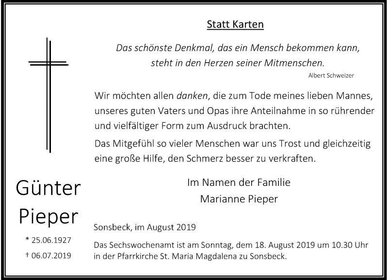 Anzeige von  Günter Pieper