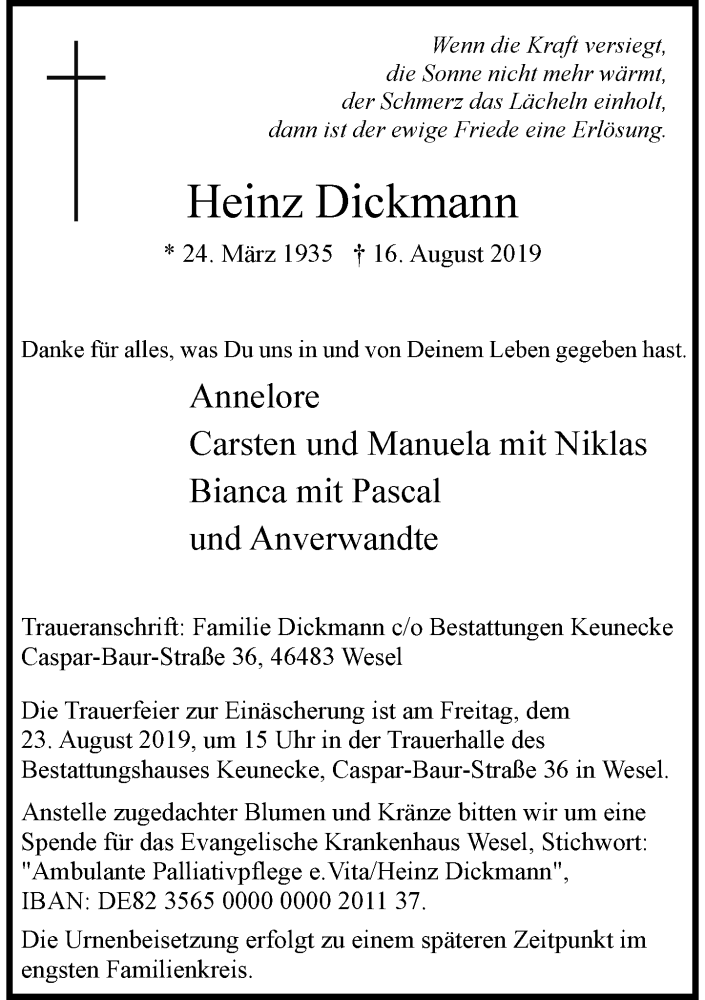 Anzeige von  Heinz Dickmann