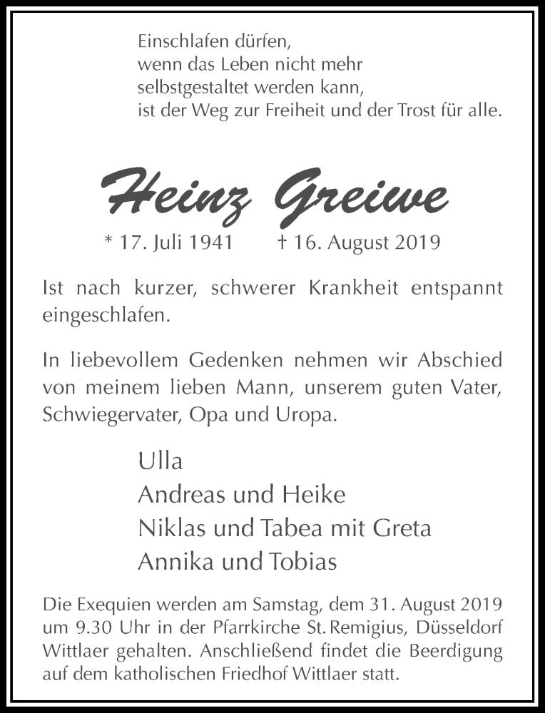 Anzeige von  Heinz Greiwe