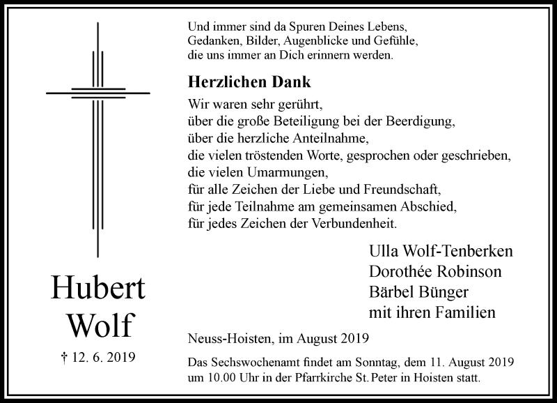 Anzeige von  Hubert Wolf
