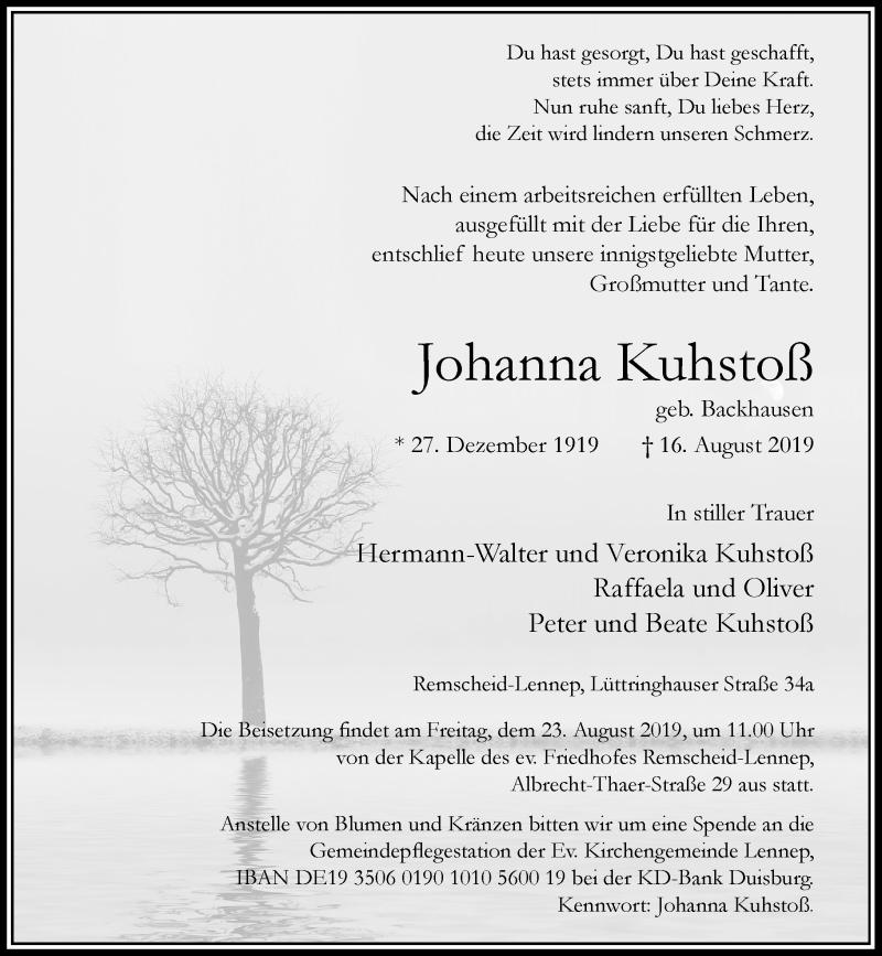 Anzeige von  Johanna Kuhstoß