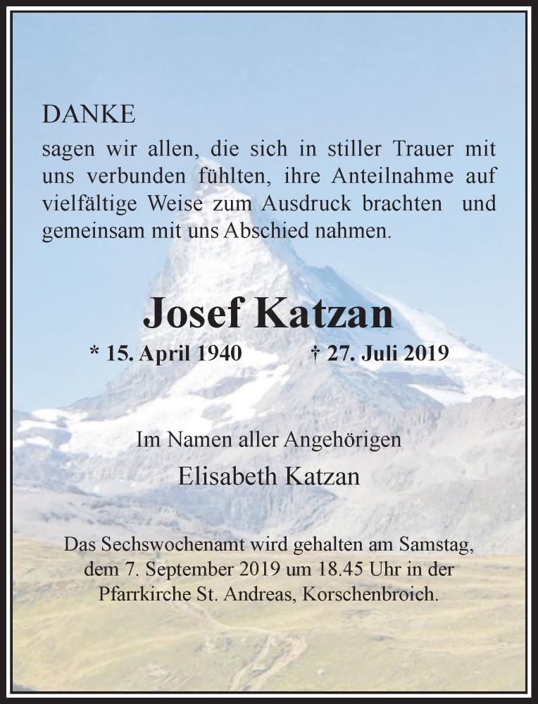 Anzeige von  Josef Katzan