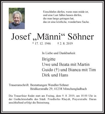 Traueranzeige von Josef Söhner von Rheinische Post