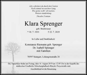Traueranzeige von Klara Sprenger von Rheinische Post
