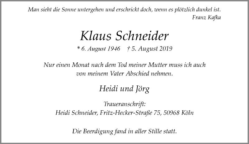 Anzeige von  Klaus Schneider