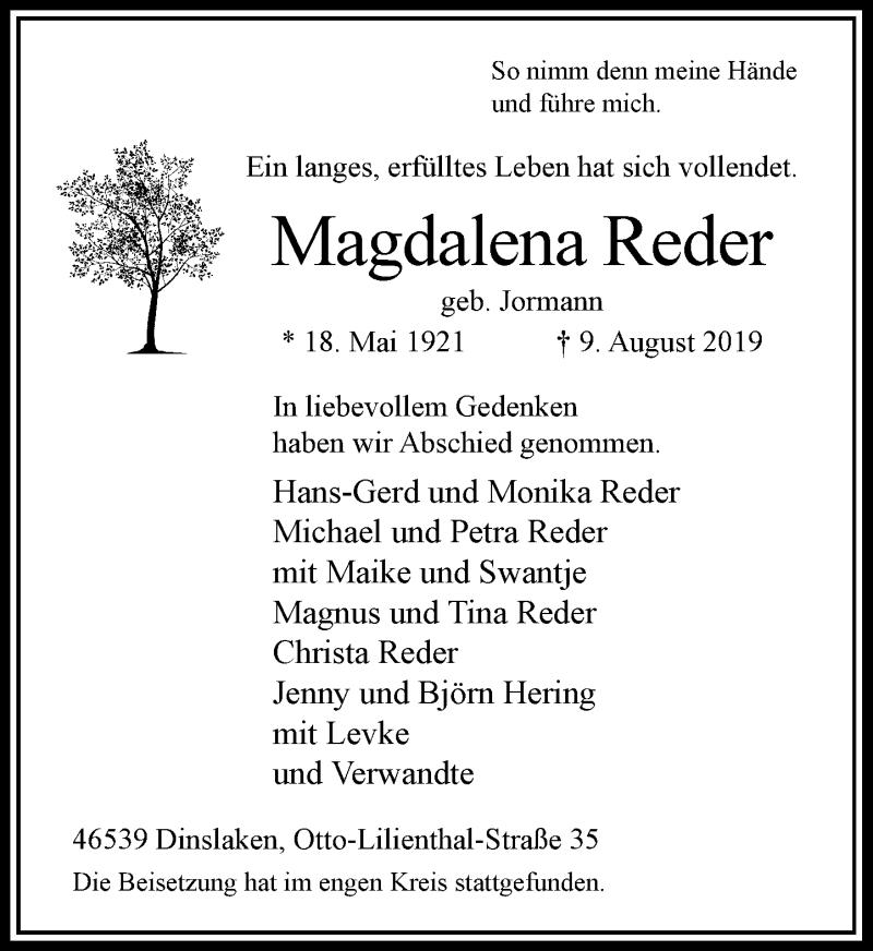 Anzeige von  Magdalena Reder
