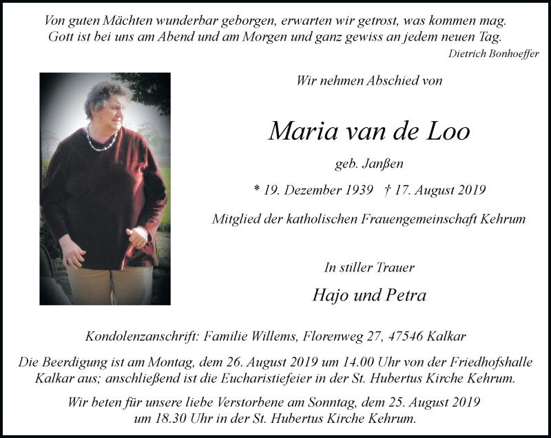 Anzeige von  Maria van de Loo