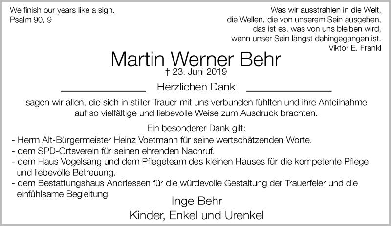 Anzeige von  Martin Werner Behr