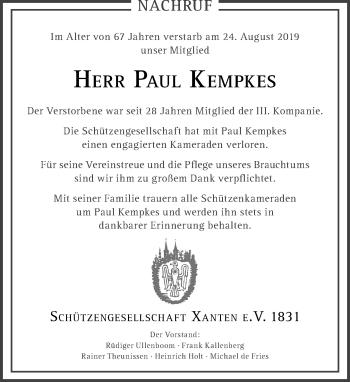 Traueranzeige von Paul Kempkes von Rheinische Post