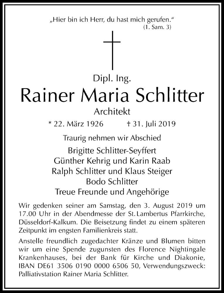 Traueranzeige für Rainer Maria Schlitter vom 02.08.2019 aus Rheinische Post