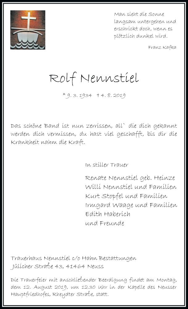Anzeige von  Rolf Nennstiel