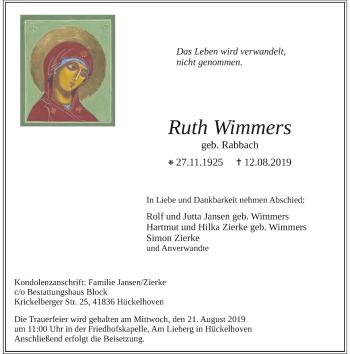 Traueranzeige von Ruth Wimmers von Rheinische Post