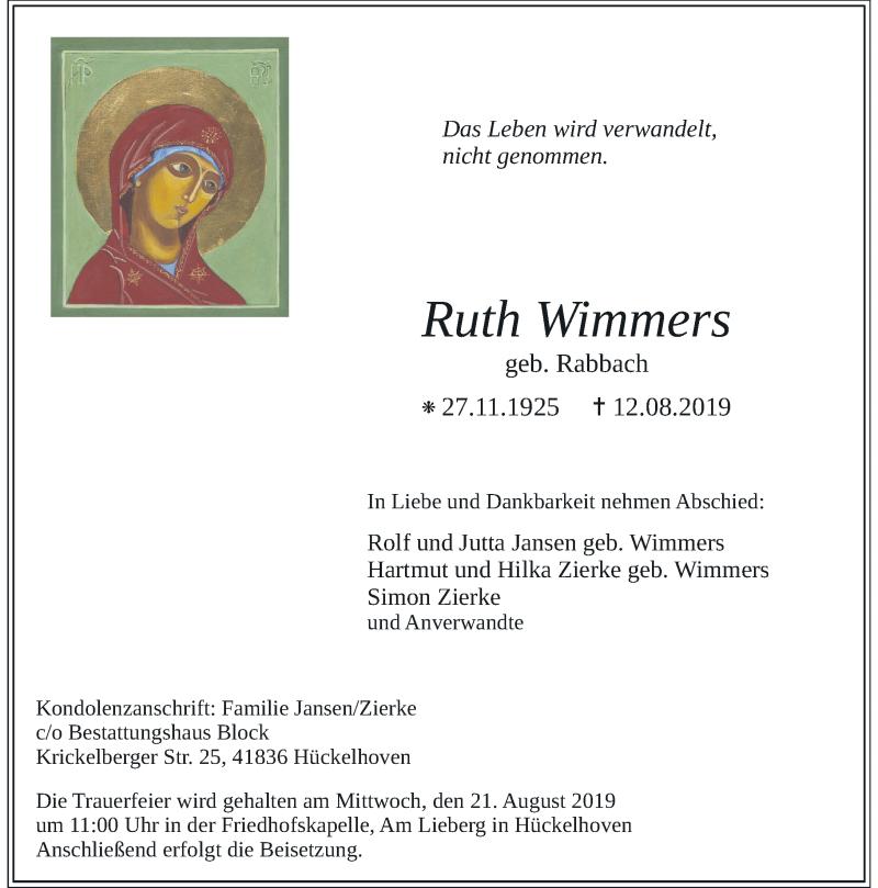 Traueranzeige für Ruth Wimmers vom 17.08.2019 aus Rheinische Post