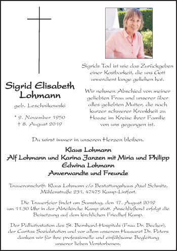 Traueranzeige von Sigrid Elisabeth Lohmann von Rheinische Post
