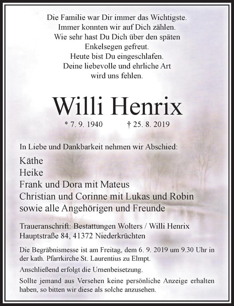 Anzeige von  Willi Henrix
