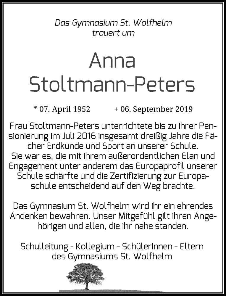 Anzeige von  Anna Stoltmann-Peters