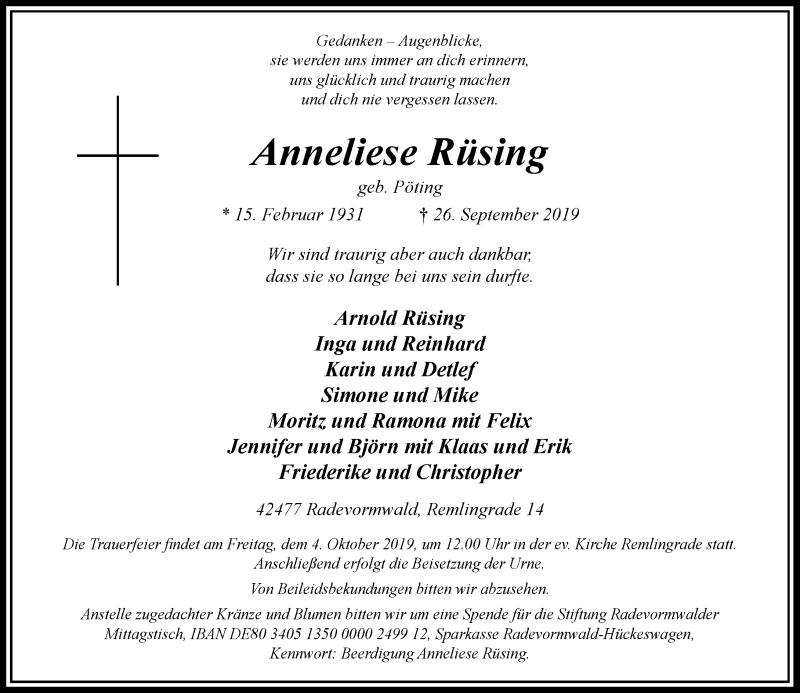 Anzeige von  Anneliese Rüsing